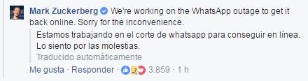 Este fue el mensaje que Mark Zuckerberg, creador de Facebook, compartió a través de su red social.