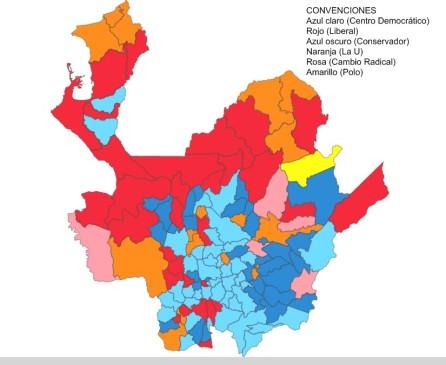 Así quedó distribuido el mapa electoral al Senado en Antioquia (los colores representan al partido más votado en cada municipio) luego de las elecciones. MAPA REGISTRADURÍA NACIONAL