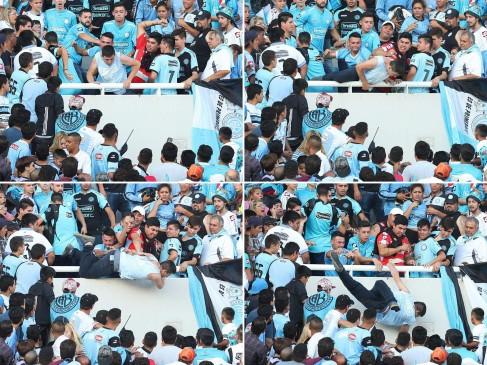 El momento en que Emanuel Balbo fue arrojado de una tribuna del estadio Mario Alberto Kempes de Belgrano de Córdoba