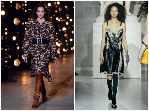 Vestidos de Isabel Marant y Louis Vuitton en París. FOTO AFP