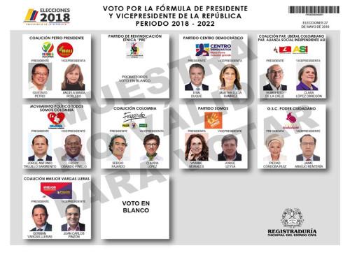 Este es el tarjetón definitivo para las elecciones presidenciales de Colombia