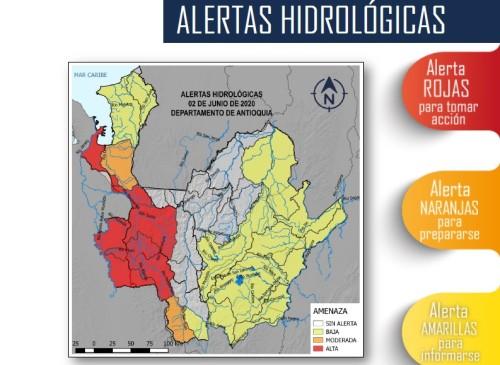 Estas son las zonas de Antioquia con alertas por posibles crecientes súbitas de los ríos. FOTO: CORTESÍA DEL CRPA.
