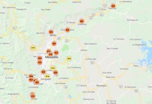 16 de las 20 estaciones poblacionales de monitoreo a la calidad del aire, más otras dos de tráfico, estaban en color naranja al mediodía de este jueves, lo que significa un ambiente dañino para grupos sensibles.