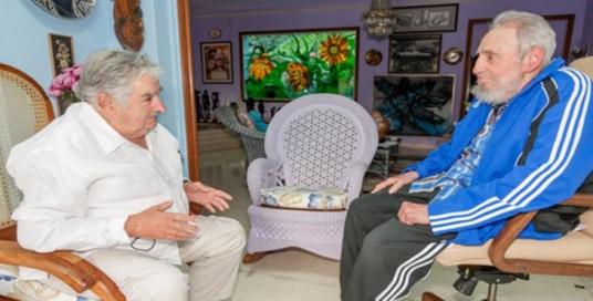 Fidel Castro recibió a José Mujica en La Habana