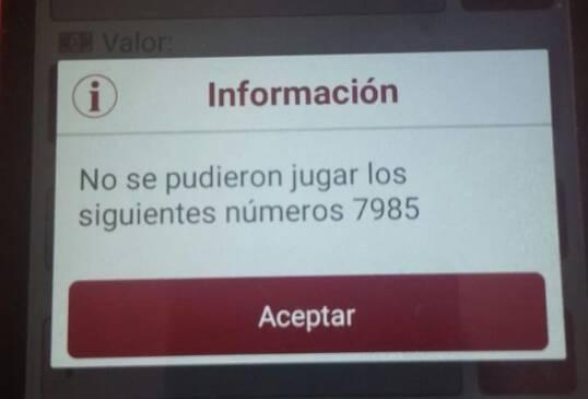 Este mensaje le salió a muchos usuarios que intentaron apostar por los números. FOTO TOMADA DE TWITTER @STEFANYGAR