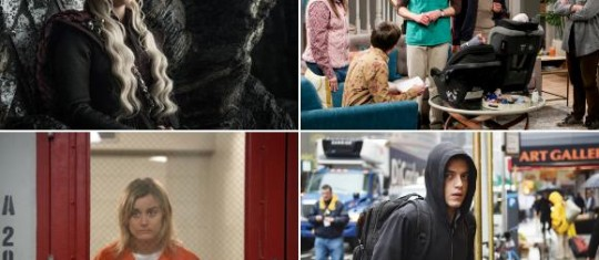 Game of thrones, The big bang theory, Orange is the new black y Mr. Robot no llegarán a 2020. FOTOS Cortesías HBO, Warner Channel, Netflix y Canal Space.