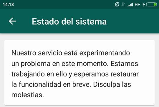 Mensaje de estado del sistema que muestra Whatsapp este 31 de diciembre. Foto captura.