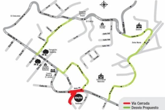 Este es el cierre de la diagonal 80 entre las calles 65 y 65B y las rutas alternas que EPM propone. MAPA EPM