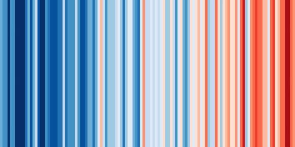 Colombia en el experimento de Ed Hawkins. El rojo representa los años donde la temperatura fue mayor con respecto a la media del periodo; el azul cuando fue menor. Foto: Show your stripes (Muestra tus barras). Foto: Show your stripes (Muestra tus barras)