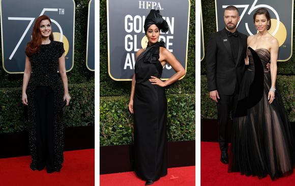 Debra Messing, Tracee Ellis Ross, Justin Timberlake y Jessica Biel. FOTOS AFP