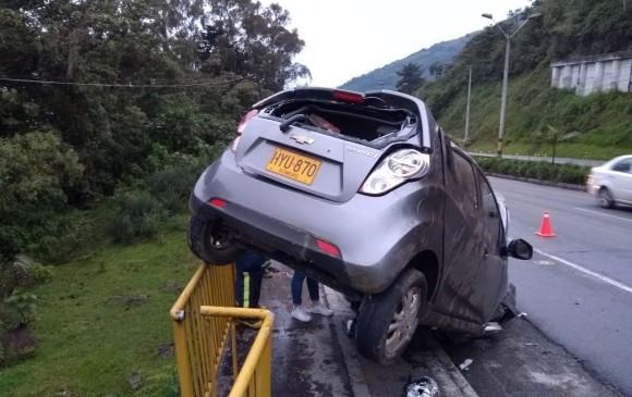 Este fue el accidente del lunes. FOTO CORTESÍA BOMBEROS ENVIGADO
