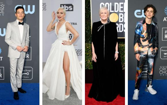 Rami Malek, Lady Gaga, Glenn Close y Timothée Chalamet, protagonistas de las tres primeras galas de premios del año. FOTOS AFP Y EFE