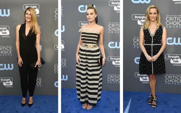Laura Dern, Margot Robbie y Reese Witherspoon. FOTOS AFP