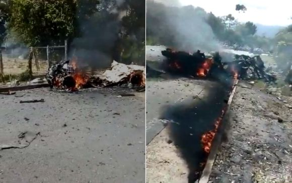 El ataque se dio a 300 metros del lugar donde se llevaba a cabo una reunión entre el Ministerio del Interior y comunidades indígenas. FOTO TWITTER