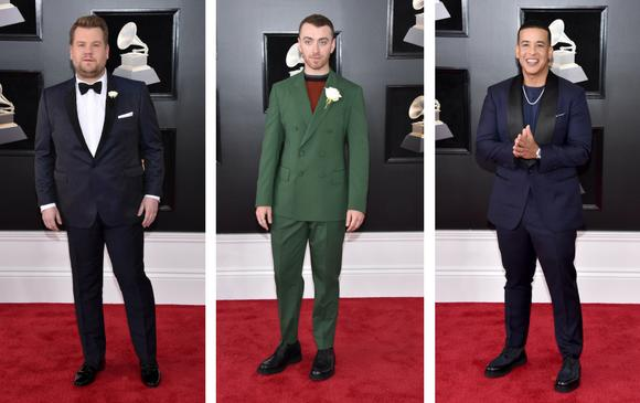 James Corden, Sam Smith y Daddy Yankee. FOTOS AFP