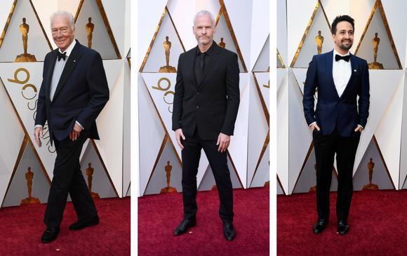 El nominado Christopher Plummer; el director de Tres anuncios por un crimen, Martin McDonagh y Lin-Manuel Miranda. FOTOS AFP