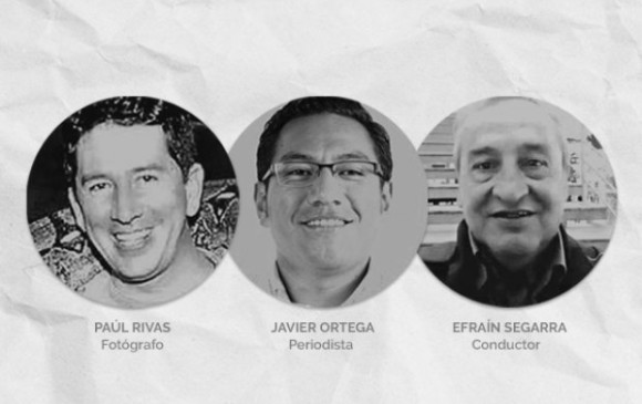 Los periodistas y el conductor que fueron asesinados.