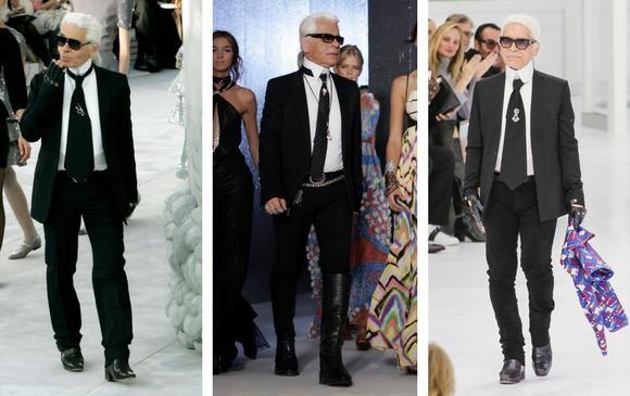 Karl Lagerfeld y el icónico traje negro. FOTOS AP Y Sstock