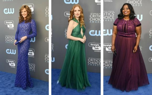 Allison Janney, Jessica Chastain y Octavia Spencer muy coloridas. FOTOS AFP