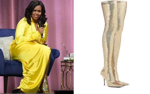 Michelle Obama apareció en Brooklyn, Nueva York, con un vestido amarillo que combinó a la perfección con las botas Balenciaga. FOTO AFP