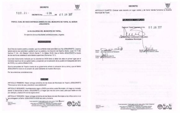 Alcaldesa (e) de Yopal firmó decreto para