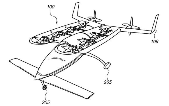 El Zee.Aero es un modelo de coche volador en el que el cofundador de Google, Larry Page, está invirtiendo unos 100 millones de dólares, según sostiene Bloomberg. FOTO: United States Patent and Trademark Office (USPTO)