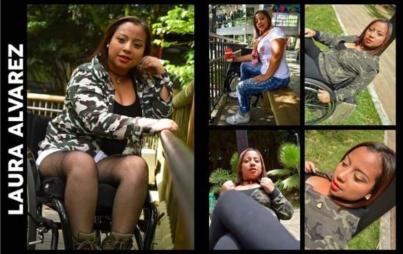 Laura Álvarez desfilará en su silla de ruedas. Estudia diseño gráfico. FOTO CORTESÍA