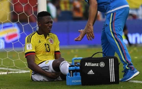 Yerry Mina será baja de Colombia ante Argentina. FOTO AFP