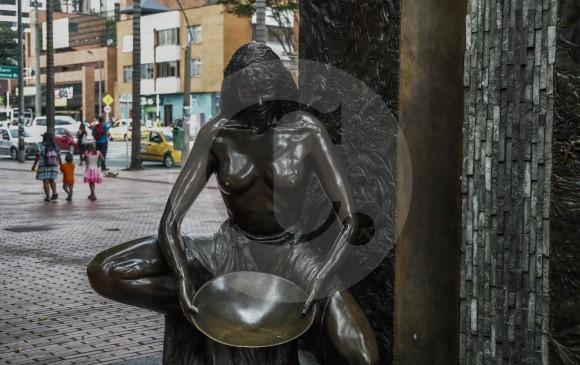 """Detalle de """"Homenaje al primer poblado"""" de Luz Piedrahita. FOTO Róbinson Sáenz."""