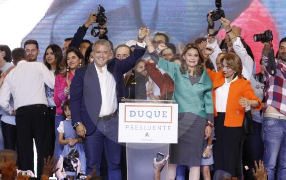 Igual a lo que repitió durante toda su larga campaña presidencial, Duque dijo que no gobernará con odios ni espejo retrovisor. FOTOS Manuel saldarriaga
