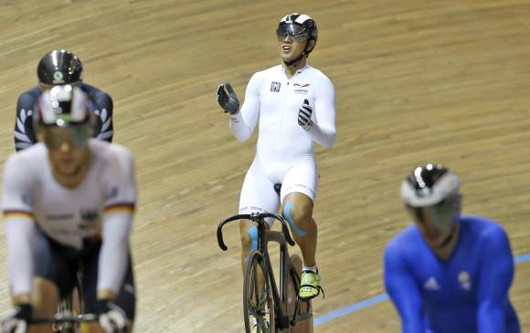Fabián Puerta demostró en Cali por qué es el mejor deportista del keirin en el mundo. FOTO. Juan Antonio Sánchez
