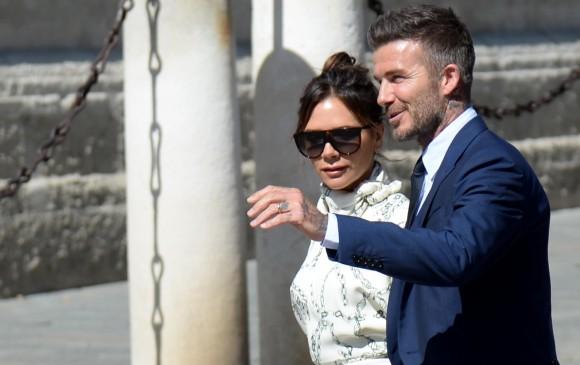 David Beckham y Victoria Bekcham, a su llegada a la catedral. FOTO Cristina Quicler (AFP)