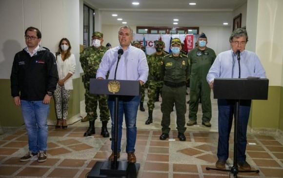 La rueda de prensa se realizó desde Chocó y tuvo la presencia del Fiscal Francisco Barbosa, el Presidente Iván Duque y el Ministro de Defensa Carlos Holmes Trujillo. Foto: Presidencia
