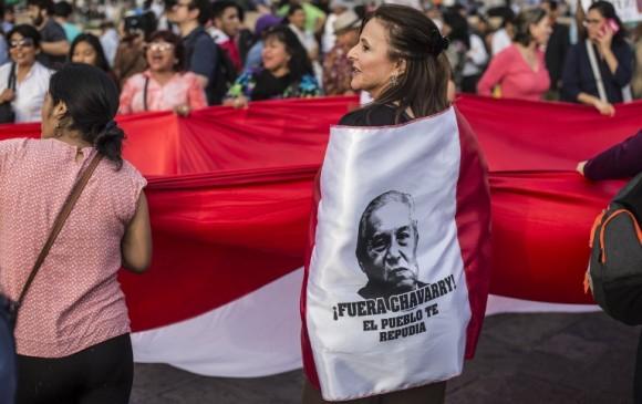 Protestas en Perú contra Pedro Chávarry, fiscal de ese país. Foto: AFP