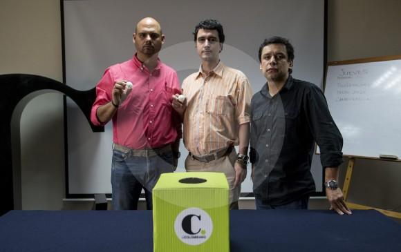 Felipe Castrillón, Cambio Radical; Mauricio Villegas, Centro Democrático y Felipe Morales, El Colombiano. FOTO santiago mesa