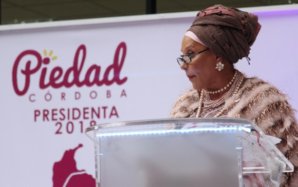 La exsenadora y ahora excandidata presidencial por el movimiento Poder Ciudadano anunció desde la Cámara de Comercio de Bogotá que no tuvo las garantías. FOTO Colprensa