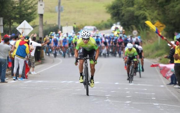 José Tito Hernández, dueño del puerto de montaña de la segunda etapa del Tour Colombia 2.1. FOTO CORTESÍA TOUR COLOMBIA