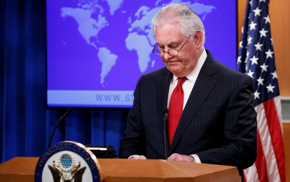 Rex Tillerson regresó a su país ayer para notificarse de su despido y permanecerá en el cargo hasta el 31 de marzo. FOTO afp
