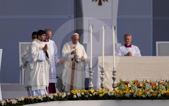 El Papa Francisco durante la misa campal en Bogotá. FOTO ESTEBAN VANEGAS