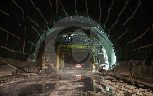 Obra de construcción del Túnel de La Línea. Foto: Esteban Vanegas