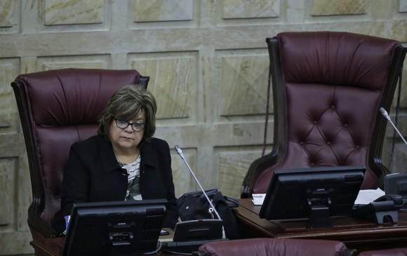 La ministra de Justicia, Gloria María Borrero, durante el foro que se realizó para analizar la reforma en la Cámara. FOTO COLPRENSA
