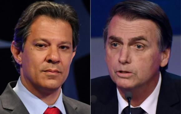 Fernando Haddad y Jair Bolsonaro son los dos candidatos con más opciones en las elecciones de Brasil. Foto: AFP