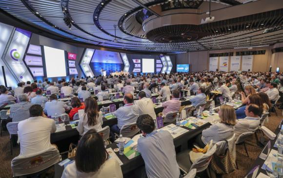 La banca colombiana reunida en su convención anual, en Cartagena, le pidió al gobierno del presidente Iván Duque impulsar la productividad, asegurar la sostenibilidad fiscal, así como atraer y estimular la inversión. FOTO Cortesía Asobancaria