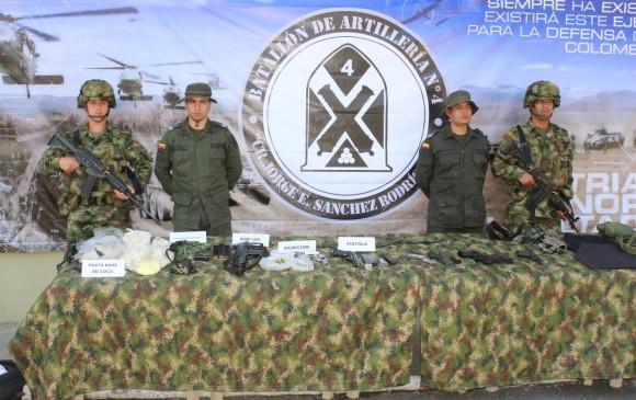 Este es el material incautado por el Ejército. FOTO: EJÉRCITO