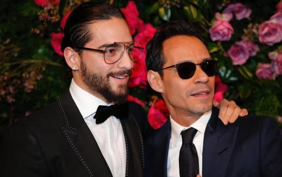 Maluma y Marc Anthony durante la gala de la fundación. FOTO EFE
