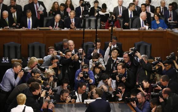 El CEO de Facebook en la audiencia. FOTO REUTERS