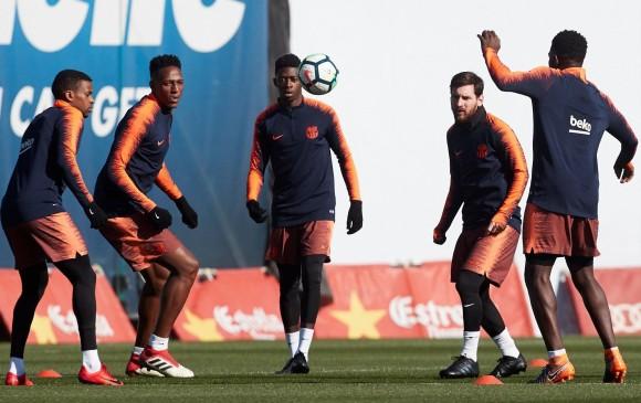 Este viernes, Yerry Mina completó tres meses como jugador del Barcelona. FOTO EFE