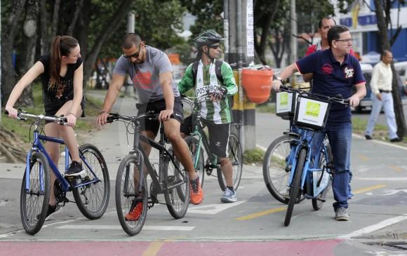 El área metropolitana cuenta con 80 kilómetros de ciclorrutas y un sistema público de bicicletas con más de 50 estaciones y 1.500 vehículos. FOTO Manuel Saldarriaga