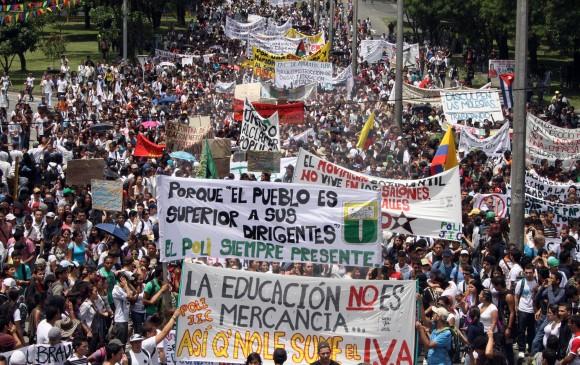 Estudiantes de las 32 universidad públicas saldrán a las calles de Colombia exigiendo recursos. FOTO robinson sáenz