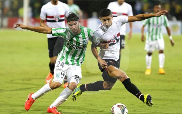 Sebastián Pérez estuvo presente en la victoria del 19 de noviembre de 2014 (1-0) por la Copa Suramericana en el Atanasio Girardot. El Verde pasó a la final. FOTO juan antonio sánchez